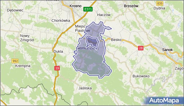 gmina Rymanów - powiat krośnieński na mapie Targeo