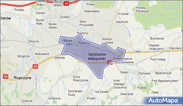 gmina Sędziszów Małopolski - powiat ropczycko-sędziszowski na mapie Targeo