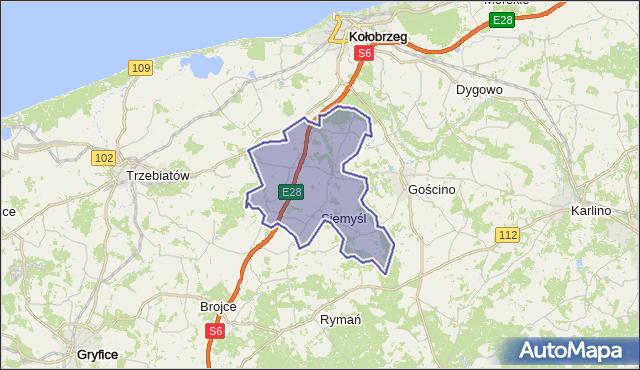 gmina Siemyśl - powiat kołobrzeski na mapie Targeo