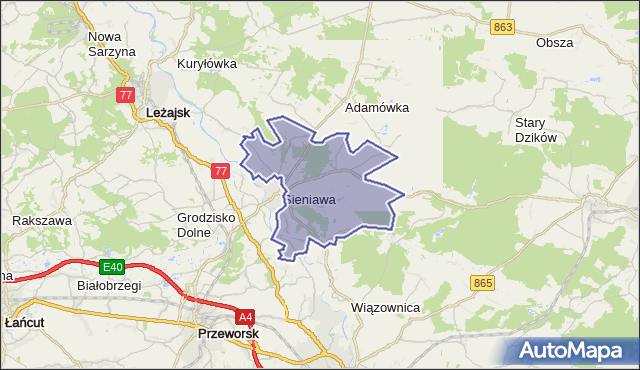gmina Sieniawa - powiat przeworski na mapie Targeo
