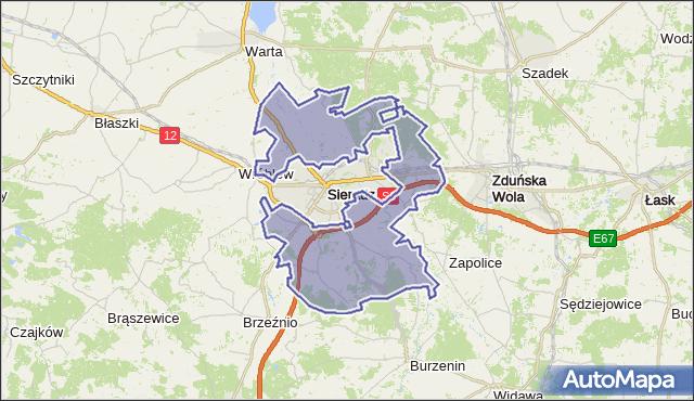 gmina Sieradz - powiat sieradzki na mapie Targeo