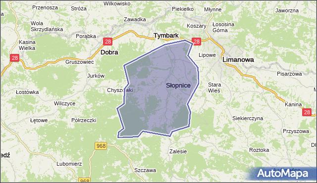 gmina Słopnice - powiat limanowski na mapie Targeo