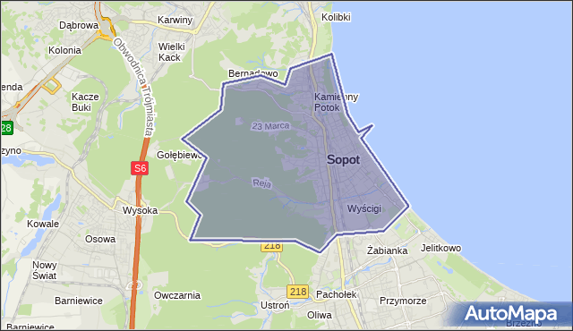 gmina Sopot - powiat Sopot na mapie Targeo