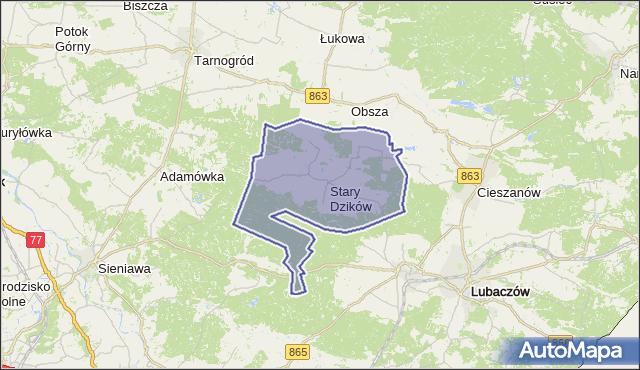 gmina Stary Dzików - powiat lubaczowski na mapie Targeo