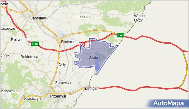 gmina Stubno - powiat przemyski na mapie Targeo