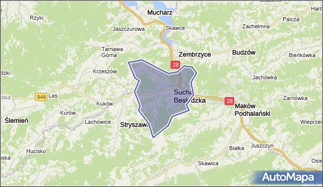 gmina Sucha Beskidzka - powiat suski na mapie Targeo