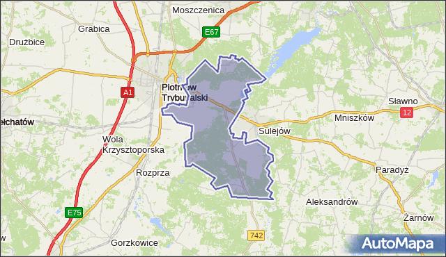 gmina Sulejów - powiat piotrkowski na mapie Targeo