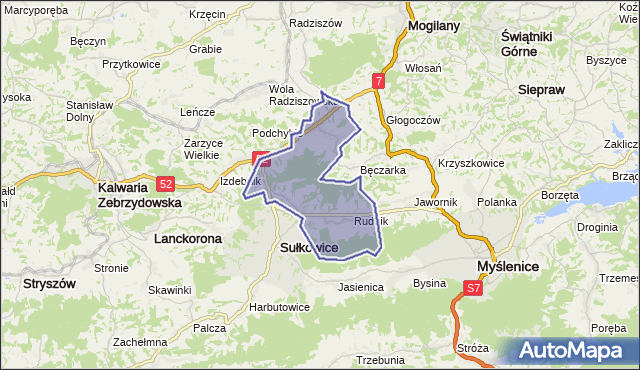 gmina Sułkowice - powiat myślenicki na mapie Targeo