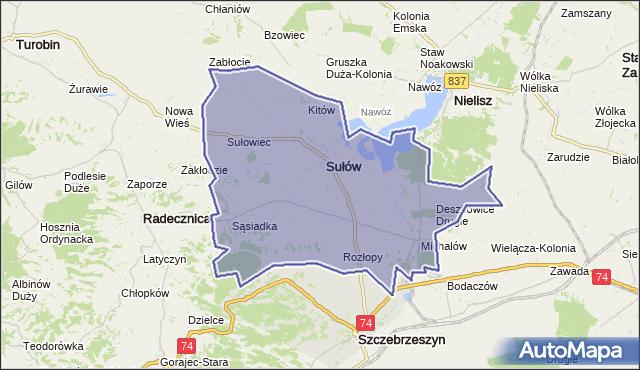 gmina Sułów - powiat zamojski na mapie Targeo