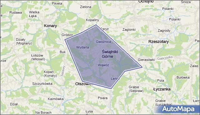 gmina Świątniki Górne - powiat krakowski na mapie Targeo