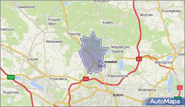 gmina Tarnowskie Góry - powiat tarnogórski na mapie Targeo