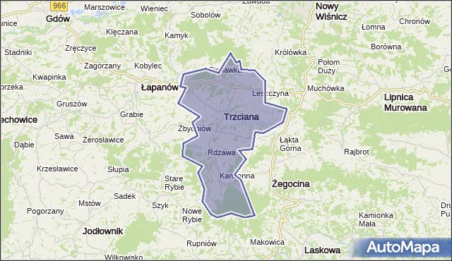 gmina Trzciana - powiat bocheński na mapie Targeo