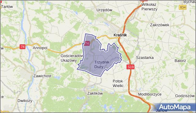 gmina Trzydnik Duży - powiat kraśnicki na mapie Targeo