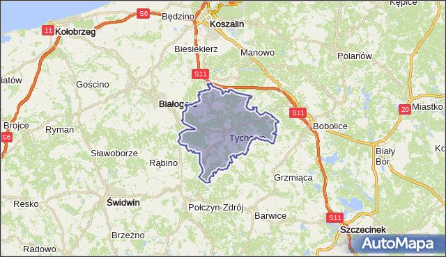gmina Tychowo - powiat białogardzki na mapie Targeo