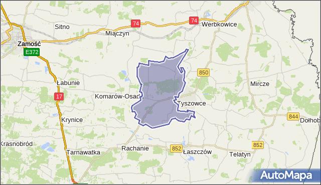gmina Tyszowce - powiat tomaszowski na mapie Targeo