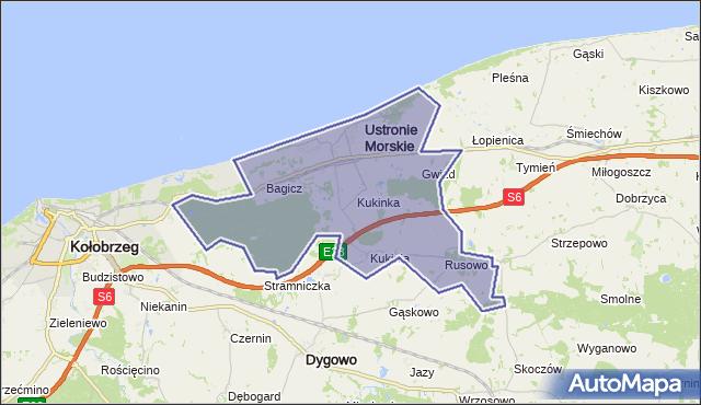 gmina Ustronie Morskie - powiat kołobrzeski na mapie Targeo