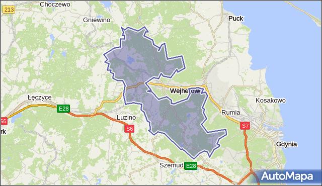 gmina Wejherowo - powiat wejherowski na mapie Targeo