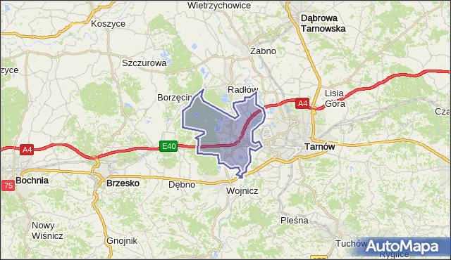 gmina Wierzchosławice - powiat tarnowski na mapie Targeo