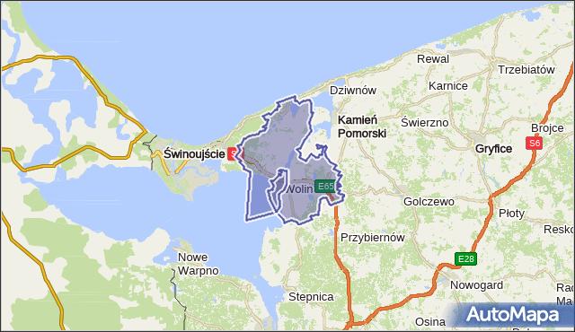 gmina Wolin - powiat kamieński na mapie Targeo