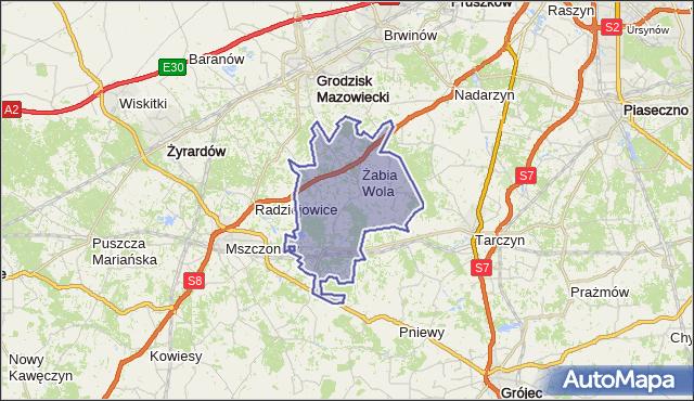 gmina Żabia Wola - powiat grodziski na mapie Targeo