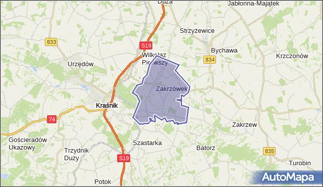gmina Zakrzówek - powiat kraśnicki na mapie Targeo