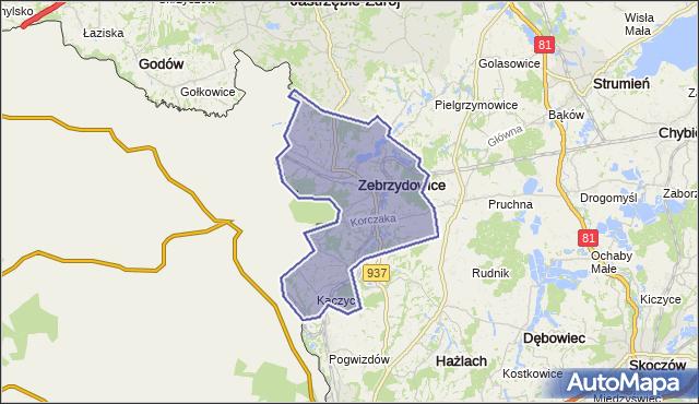 gmina Zebrzydowice - powiat cieszyński na mapie Targeo