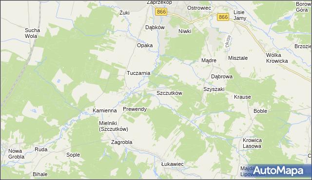 mapa Szczutków, Szczutków na mapie Targeo