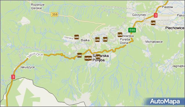 mapa Szklarska Poręba, Szklarska Poręba na mapie Targeo