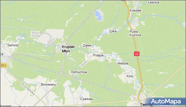 mapa Potępa, Potępa na mapie Targeo