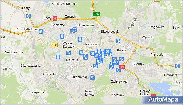 mapa Białegostoku, Białystok na mapie Targeo