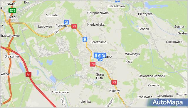 mapa Jaworzno, Jaworzno na mapie Targeo