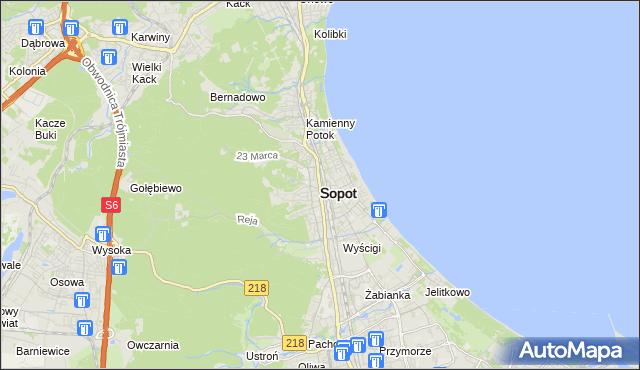 mapa Sopotu, Sopot na mapie Targeo