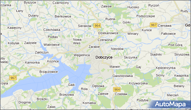 mapa Dobczyce, Dobczyce na mapie Targeo