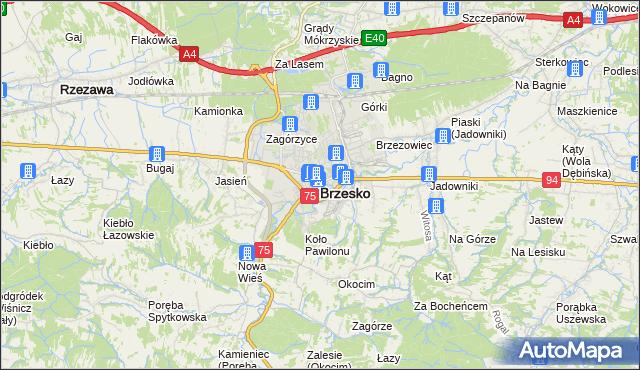 mapa Brzesko, Brzesko na mapie Targeo