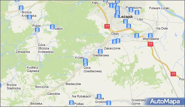 mapa Giedlarowa, Giedlarowa na mapie Targeo