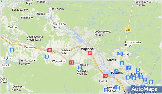 mapa Wąchock, Wąchock na mapie Targeo