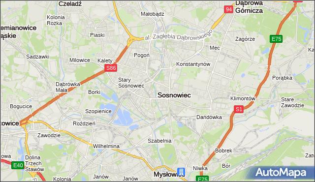 mapa Sosnowca, Sosnowiec na mapie Targeo
