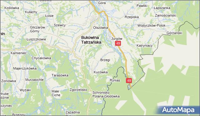 mapa Brzegi gmina Bukowina Tatrzańska, Brzegi gmina Bukowina Tatrzańska na mapie Targeo