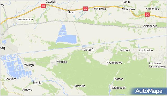 mapa Gorzeń gmina Nakło nad Notecią, Gorzeń gmina Nakło nad Notecią na mapie Targeo