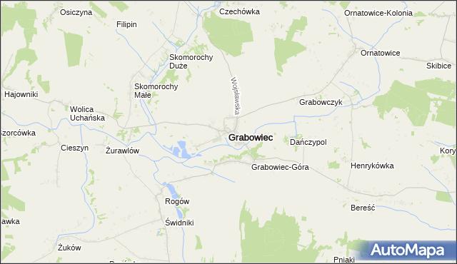 mapa Grabowiec powiat zamojski, Grabowiec powiat zamojski na mapie Targeo