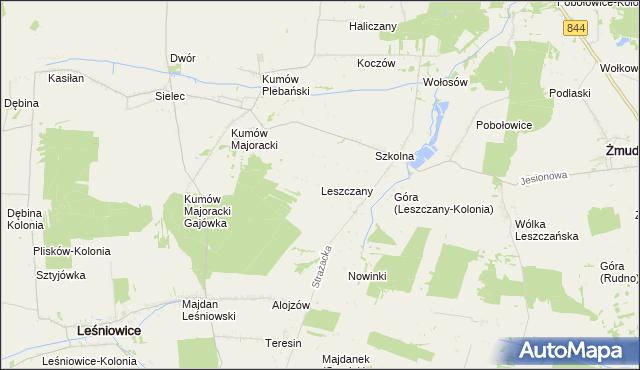 mapa Leszczany gmina Żmudź, Leszczany gmina Żmudź na mapie Targeo