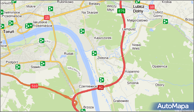 mapa Złotoria gmina Lubicz, Złotoria gmina Lubicz na mapie Targeo