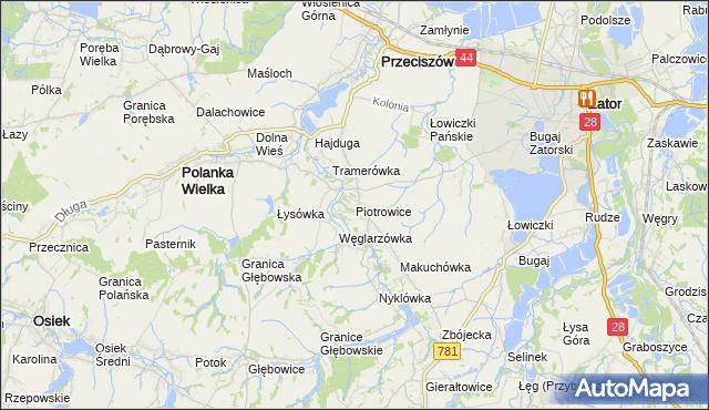 mapa Piotrowice gmina Przeciszów, Piotrowice gmina Przeciszów na mapie Targeo