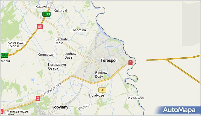mapa Terespol powiat bialski, Terespol powiat bialski na mapie Targeo