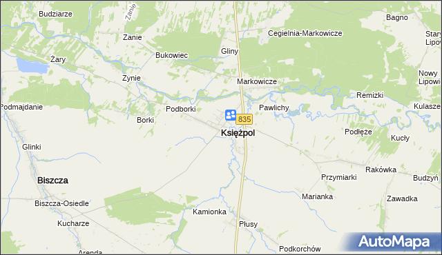 mapa Księżpol, Księżpol na mapie Targeo