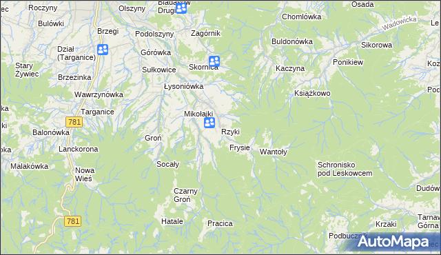 mapa Rzyki, Rzyki na mapie Targeo
