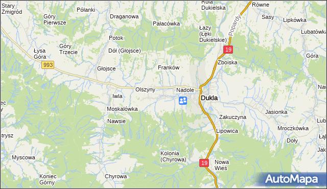 mapa Teodorówka gmina Dukla, Teodorówka gmina Dukla na mapie Targeo
