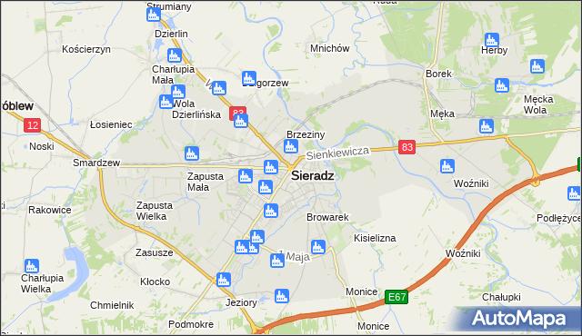 mapa Sieradz, Sieradz na mapie Targeo