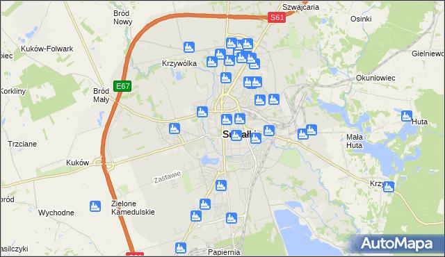 mapa Suwałk, Suwałki na mapie Targeo