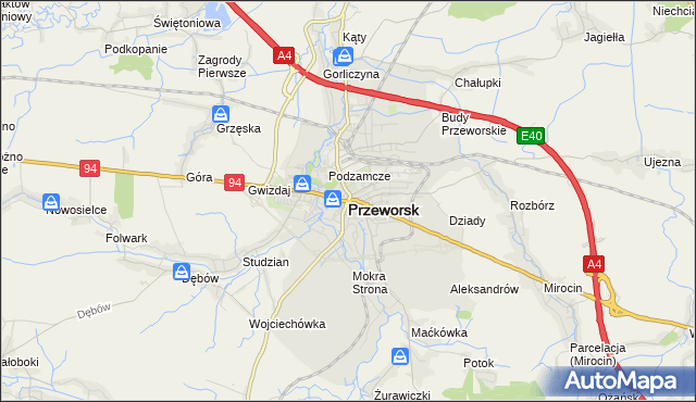 mapa Przeworsk, Przeworsk na mapie Targeo